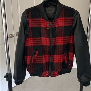 Red/Black plaid bomber jacket